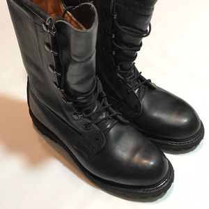 Vibrant Black Leather Military Boots